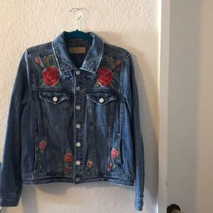 jean jacket with butterfly embroidery